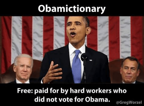 Obama dictionary free means non-Obama voters paid