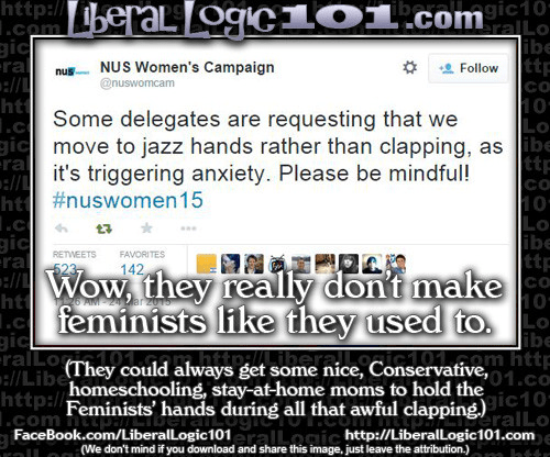 Poster about jazz hands and feminists