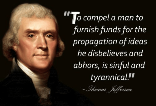 Jefferson on people being forced to fund religion