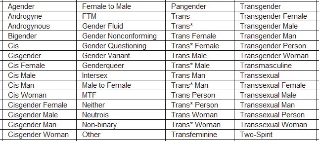 Facebook sexual identity chart
