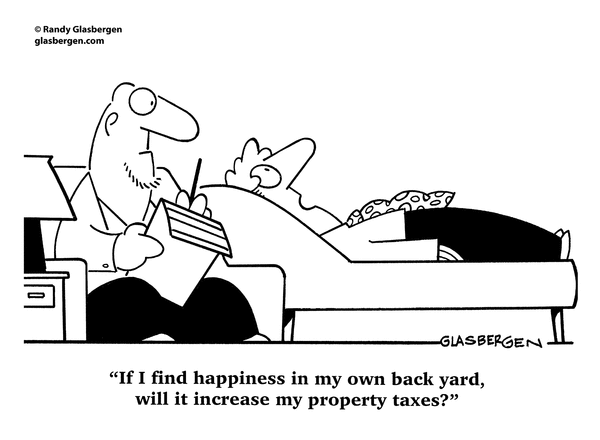 Happiness back yard property taxes