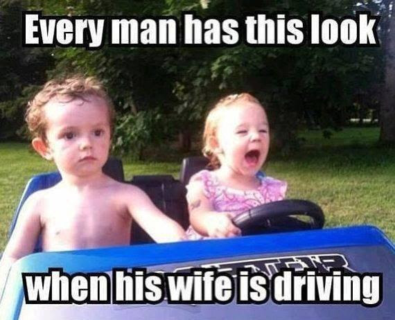 Man's look when his wife is driving