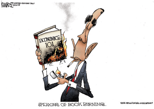 Obama burns up economics books
