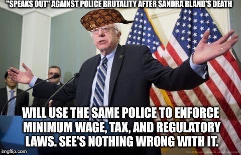 Bernie Sanders hypocrisy police power