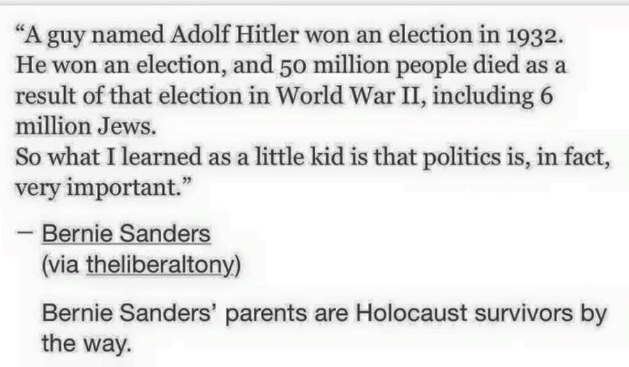 Bernie Sanders on Hitler's win