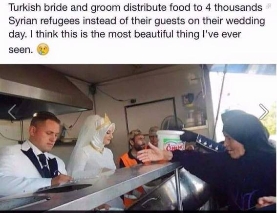Bride and groom distribute food to Syrian refugees