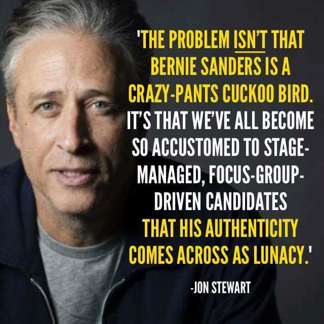 Jon Stewart on Sanders' authenticity