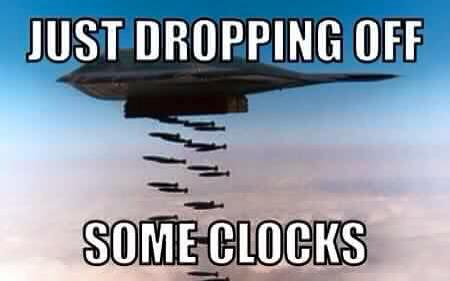 Dropping off clocks bombs