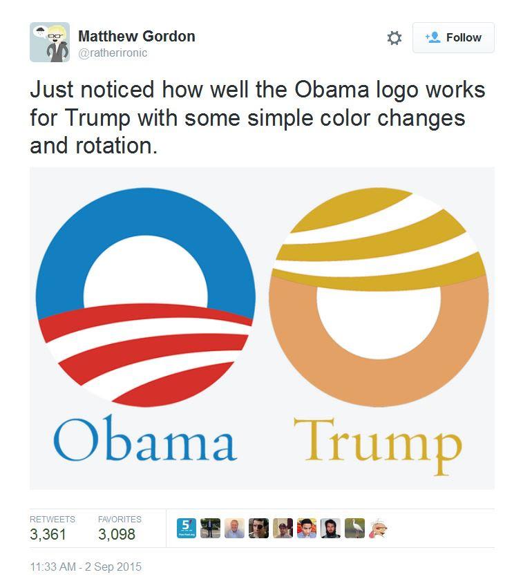 Obama and Trump logos