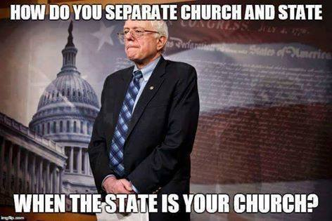 Bernie -- how to separate church and state when state is church