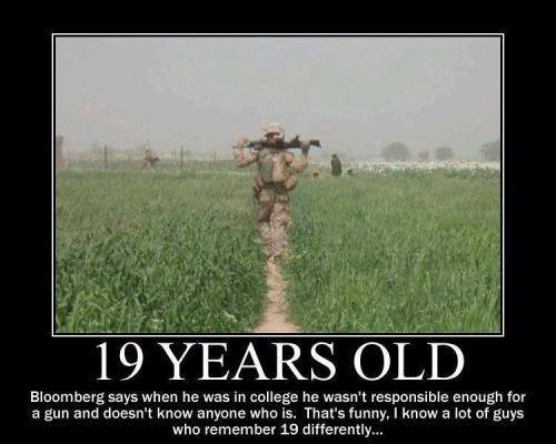 Bloomberg says 19 year olds are too young for guns military disagrees
