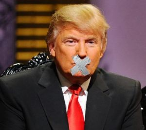 Donald Trump mouth taped shut
