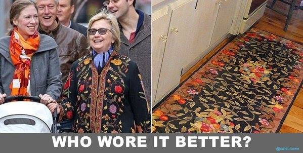 Hillary wears a carpet