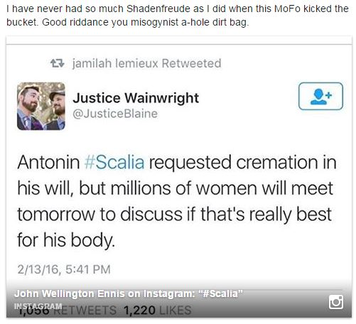 Leftist on Scalia's death