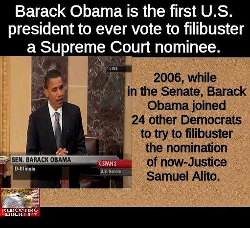 Obama as senator filibustered Alito nomination