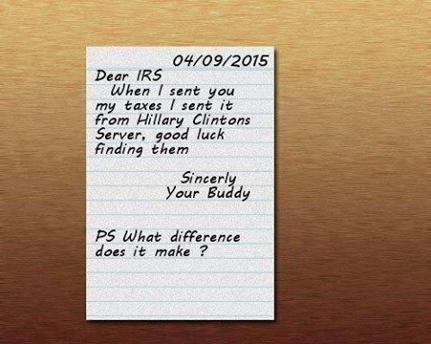 Sending taxes from Hillary's server