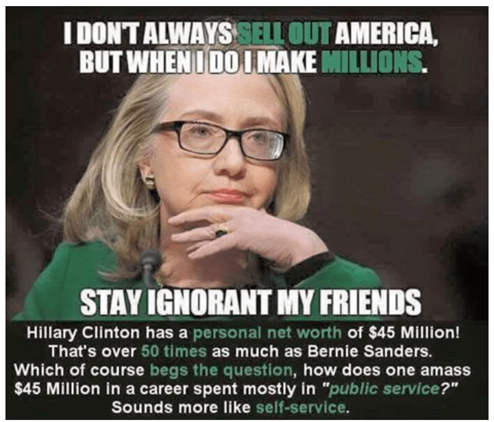 HIllary sells out America net worth