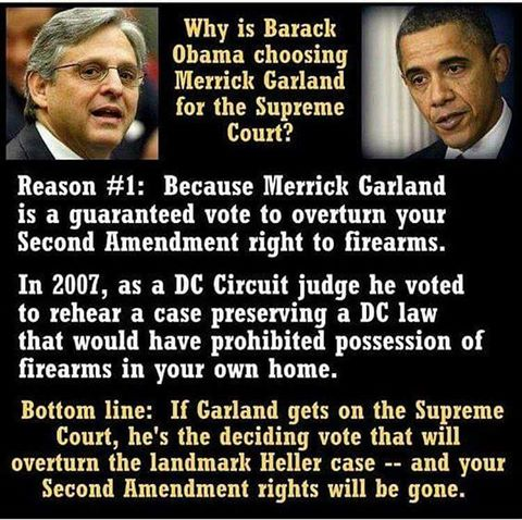 Merrick Garland opposes second amendment guns
