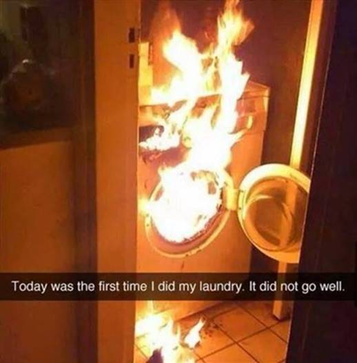 Silly Washing machine on fire