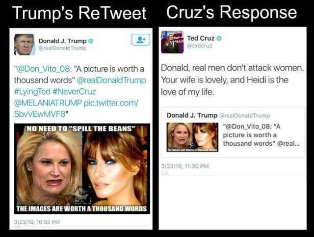 Ted Cruz classy response to Trump attack wife