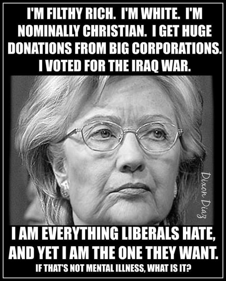 Hillary everything liberals hate but they want her