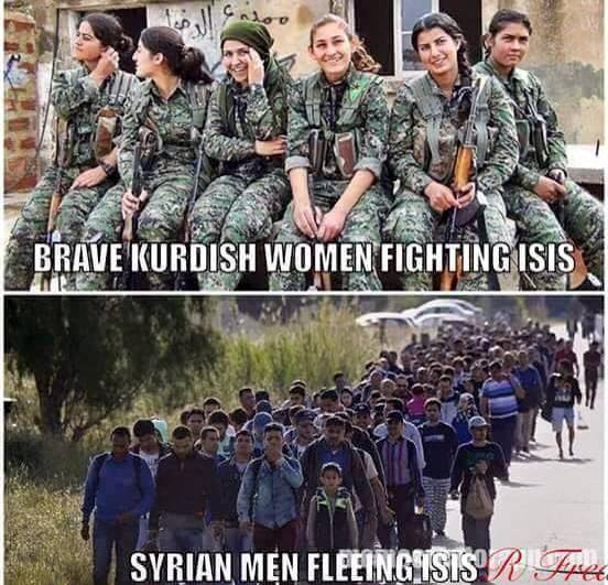 Muslims brave Kurds running Syrians