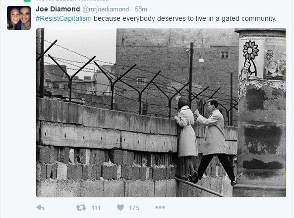 Resist Capitalism hashtag Socialism Gated Community