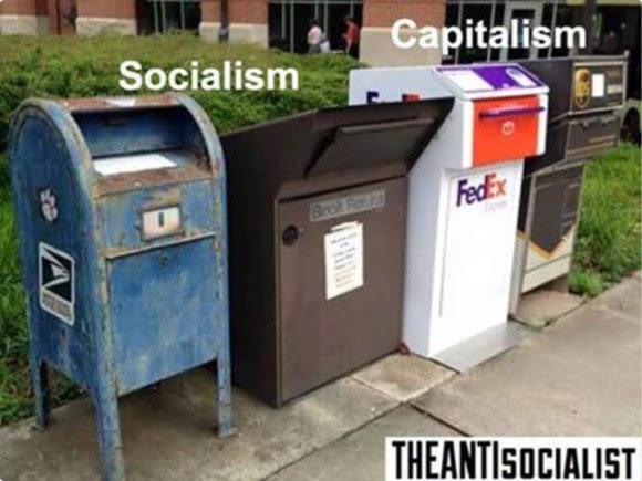 Socialism capitalism mailbox FedEx UPS