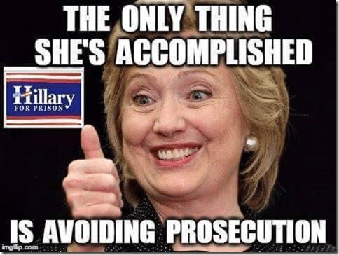 Description: Hillary avoided prosecution so far