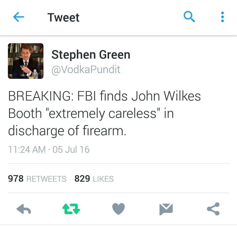 Hillary John Wilkes Booth extremely careless