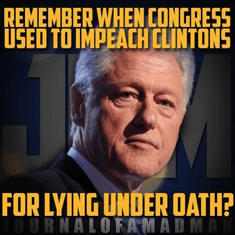 Hillary husband impeached for lying under oath