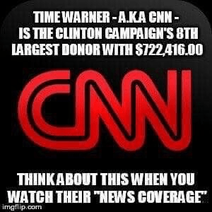 Hillary hugely funded by Time Warner CNN
