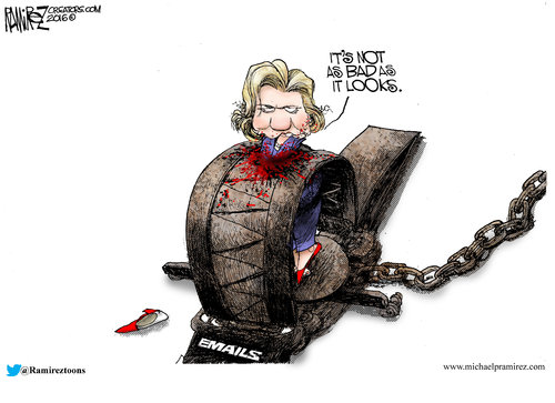 Hillary in a trap of emails Michael Ramirez