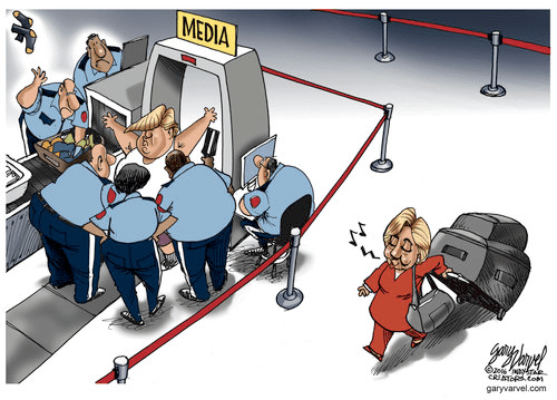 Media all over Trump ignoring Hillary