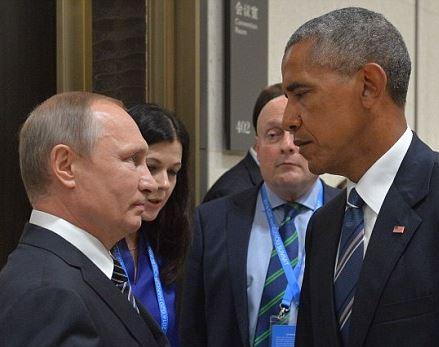 Obama Putin staredown