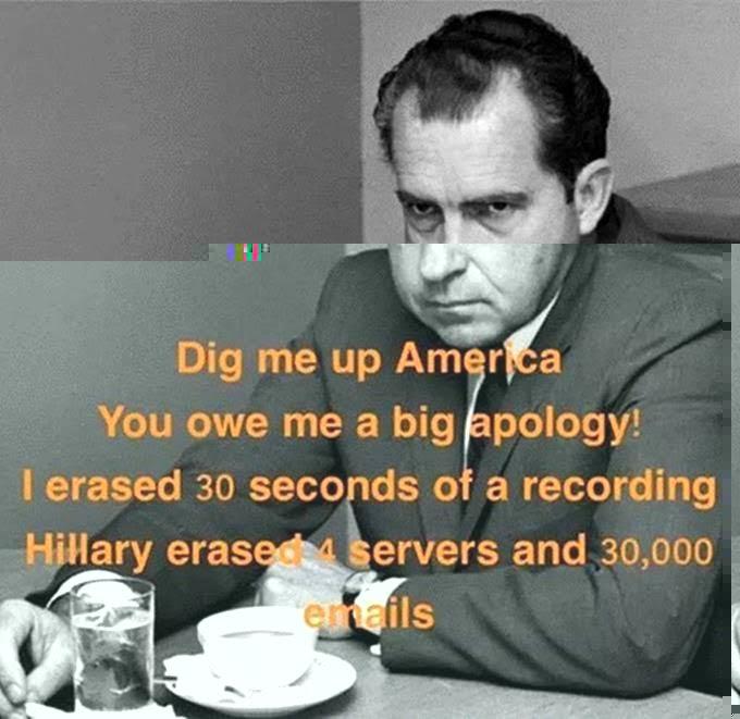 Hillary free Nixon maligned