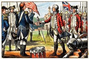 Surrender by General Cornwallis to the American commander at Yorktown, Virginia on 19 October 1781
