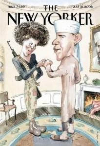 "[This illustration provided by The New Yorker magazine, the cover of the July 21, 2008 issue by artist Barry Blitt, shows Democratic presidential candidate Barack Obama dressed as a Muslim and his wife as a terrorist. The magazine says the cover is meant to satirize the use of scare tactics and misinformation in the presidential election to derail Obamas campaign, but Obama's campaign called it ""tasteless and offensive."" (AP Photo/New Yorker)] *** []"