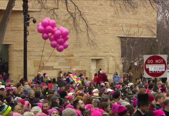 Pink-hatted marching women