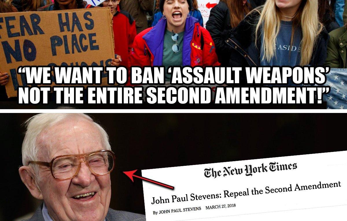 Second Amendment Left finally admits it wants to repeal Justice Stevens