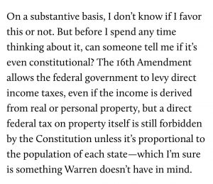 Elizabeth Warren Tax Plan Unconstitutional