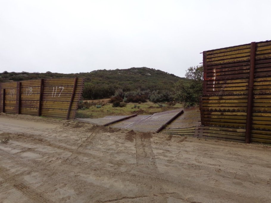 Border wall mowed down by illegals