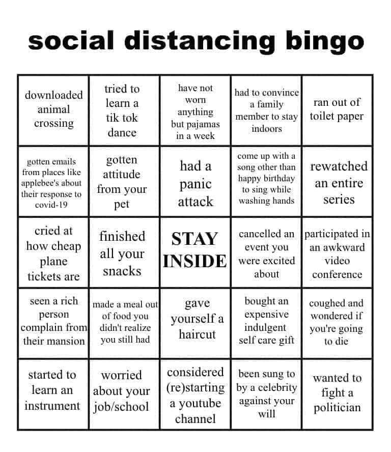 Corona Thoughts: The Coronaing Coronavirus-social-distancing-bingo