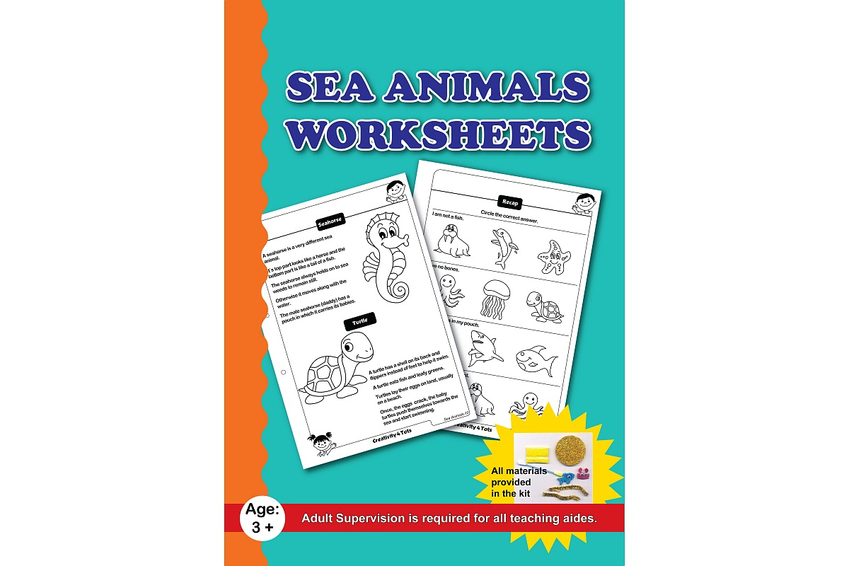 Sea Animals Worksheets With Craft Material Activity
