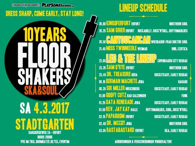 Line Up 10 Years FLOORSHAKERS | 4.3.17
