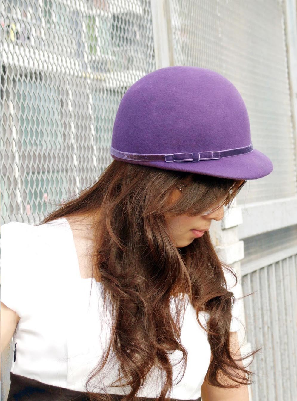 "girls fashion wool felt ball cap, womens wool felt hat,autumn and winter hat 7-1/8"" in purple free shipping"
