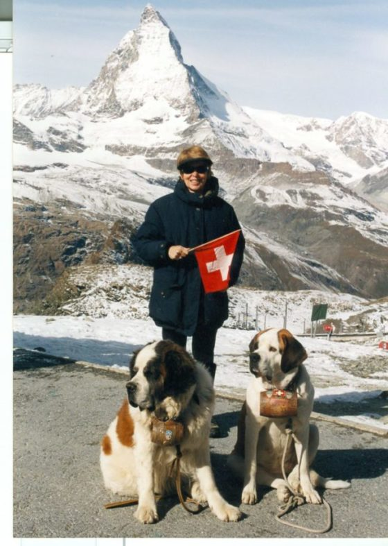 LV standing with St. Bernards in front of the Matterhorn in the Ialian Swiss Alps