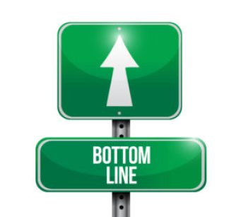 "Green road sign with white arrow pointing straight ahead with words"" Bottom Line."" Signifies bottom line on buying long-term care insurance."