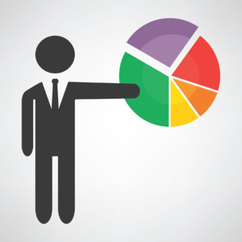 Stylized graphic of a stick figure man pointing to a pie graph.