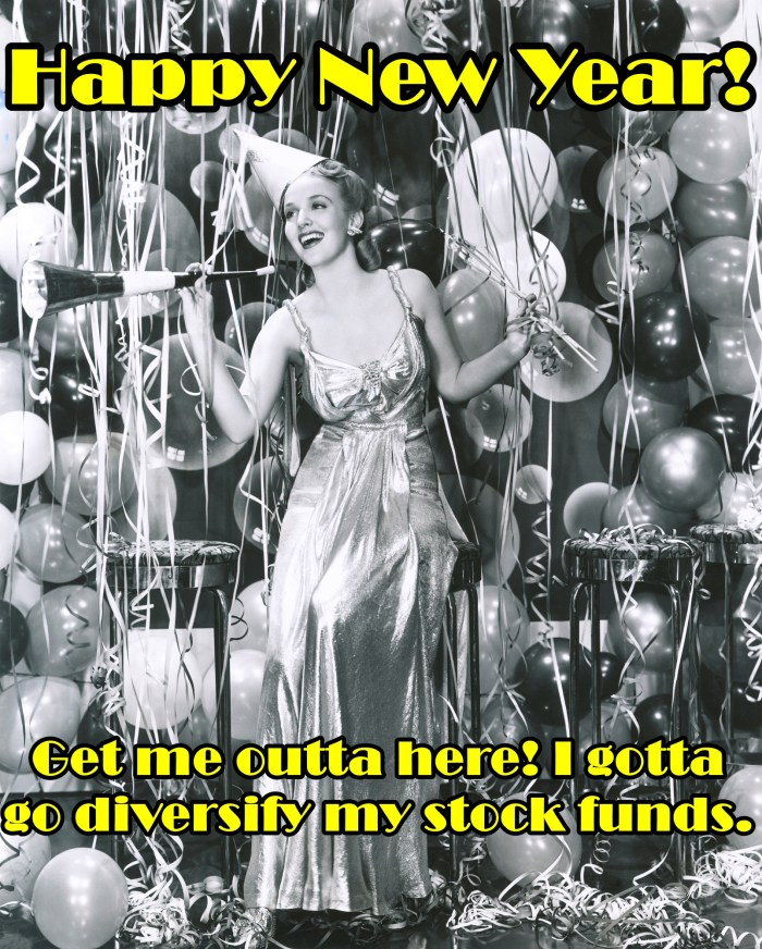Vintage black and white photo of woman who wants to leave the party so she can work on her diversified stock funds